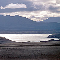 Icelandic Highland Lake and Mountain Sillouette